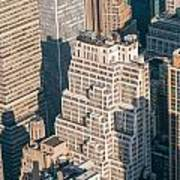 New York City Manhattan Midtown Aerial Panorama View With Skyscr Poster