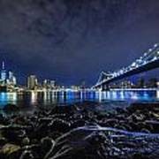 Night View To Manhattan Poster