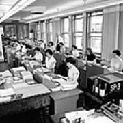Office Workers Entering Data Poster by Underwood Archives