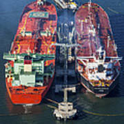 Oil Tankers Docked At Oil Pier, Down Poster