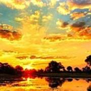 Okavango Delta Sunset Poster