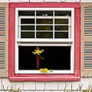 Open Window With Yellow Flower In Vase Poster
