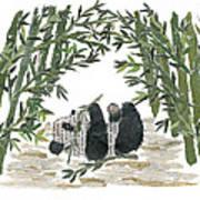 Panda Bear In Bamboo Bush Hand-torn Newspaper Collage Art  Poster