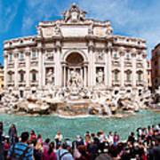 Panoramic View Of Fontana Di Trevi In Rome Poster