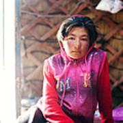 Portrait Of Young Kyrgyz Girl Inside A Yurt China Poster