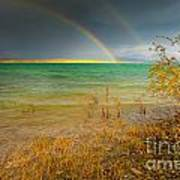 Rainbow And Dark Clouds Over Large Lake Poster