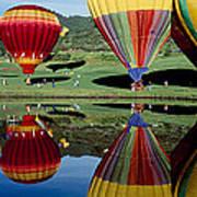 Reflection Of Hot Air Balloons Poster