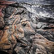 Rock Formations At Georgian Bay Poster