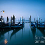 Row Of Gondolas At Sunrise Venice Italy Poster