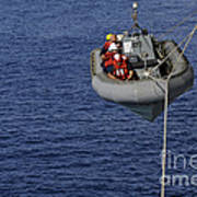 Sailors Lower A Rigid-hull Inflatable Poster