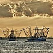 2 Shrimper Going To Sea Poster