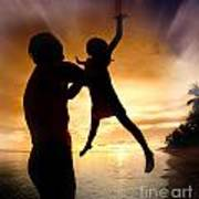 Silhouette Family Of Child Hold On Father Hand Poster by Anek Suwannaphoom