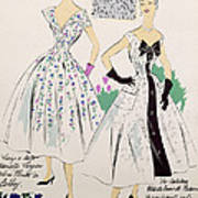 Vintage Fashion Sketches And Fabric Swatches Poster