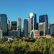 Skylines In A City, Bow River, Calgary Poster