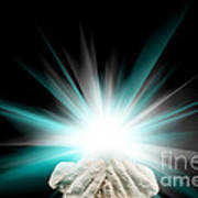 Spiritual Light In Cupped Hands On A Black Background Poster