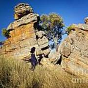Split Rocks With Woman Poster