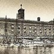 St Katherine's Dock London Sketch Poster