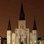 St Louis Cathedral At Night Poster