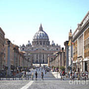 St Peter Basilica Viewed From Via Della Conciliazione. Rome Poster by Bernard Jaubert