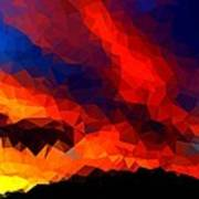 Stained Glass Sunset Poster