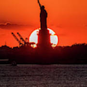 Statue Of Liberty Sunset. Nyc Harbor Poster