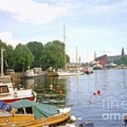 Stockholm City Harbor Poster
