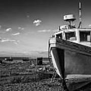 Stunning Black And White Image Of Abandoned Boat On Shingle Beac Poster