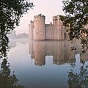 Stunning Moat And Castle In Autumn Fall Sunrise With Mist Over M Poster