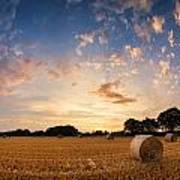 Stunning Summer Landscape Of Hay Bales In Field At Sunset Poster