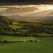Stunning Summer Sunset Over Countryside Escarpment Landscape Poster