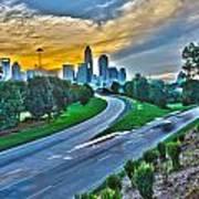 Sun Setting Over Charlotte North Carolina A Major Metropolitan C Poster