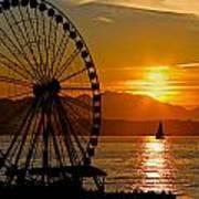 Sunset Ferris Wheel Poster