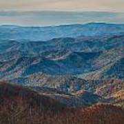 Sunset View Over Blue Ridge Mountains Poster