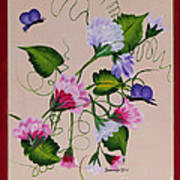 Sweet Peas And Butterflies Poster