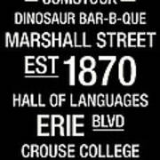 Syracuse College Town Wall Art Poster