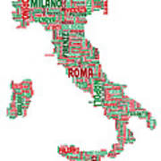 Text Map Of Italy Map Poster