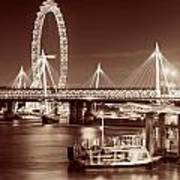 Thames River Night View Poster