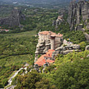 The Holy Monastery Of Rousanou Meteora Greece  Poster