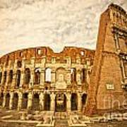 The Majestic Coliseum - Rome Poster by Luciano Mortula