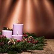 Three Candles In An Advent Flower Arrangement Poster