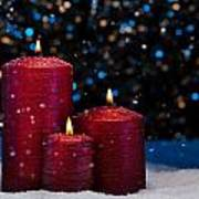 Three Red Candles In Snow  Poster