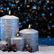 Three Silver Candles In Snow  Poster