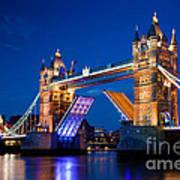 Tower Bridge In London Uk At Night Poster