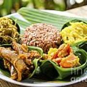 Traditional Vegetarian Curry With Rice In Bali Indonesia Poster