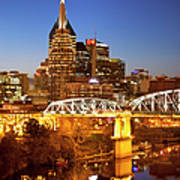 Twilight Over Nashville Tennessee Poster by Brian Jannsen