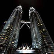 Twin Towers Petronas Kuala Lumpur Malaysia At Night Poster