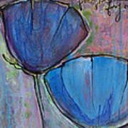 Two Blue Poppies Poster