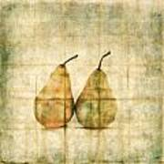 Two Yellow Pears On Folded Linen Poster