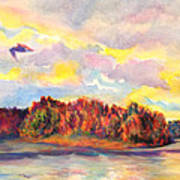 View Of Goat Island From Clackamette Park Poster