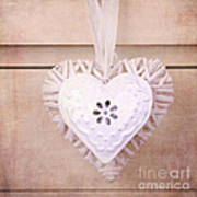 Vintage Hearts With Texture Poster